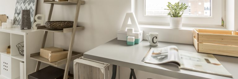 Home office desk with the letter A on it