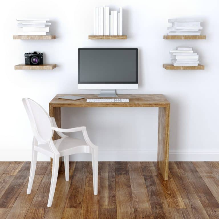 simple home office desk with 5 floating shelves