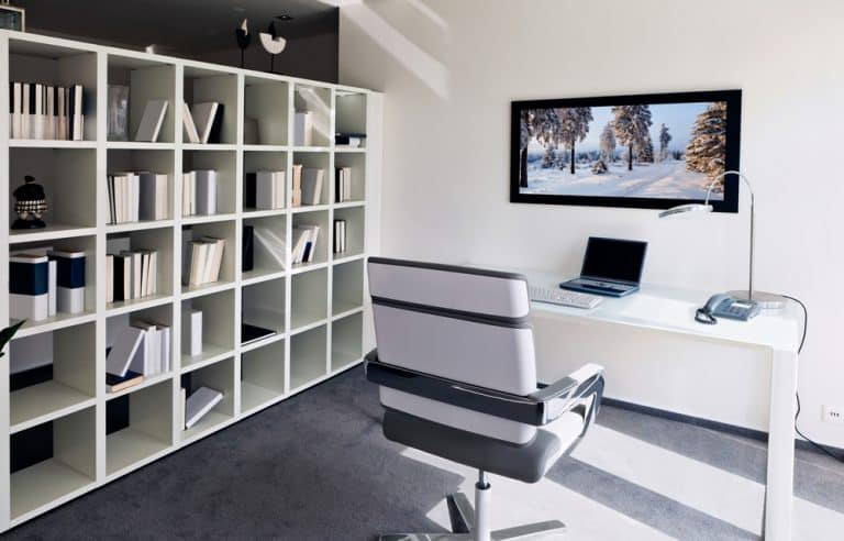 modern styled black and white home office
