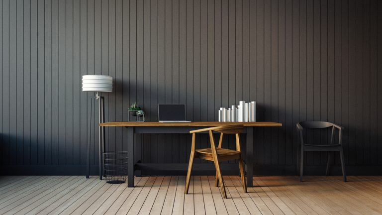 Dark themed modern home office