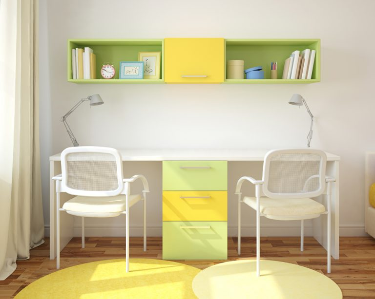 twin desk home office in yellow and green