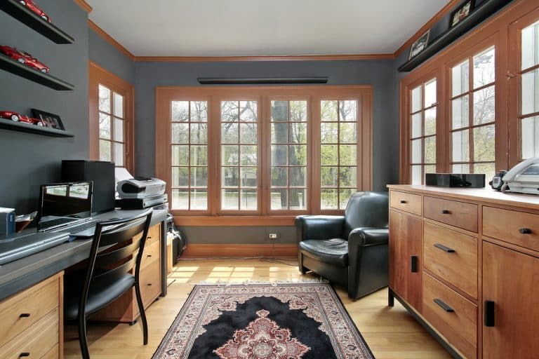 grand home office with bay windows