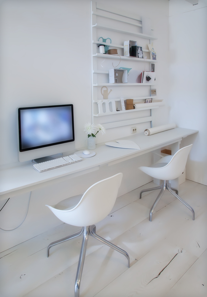 twin home office desk white themed