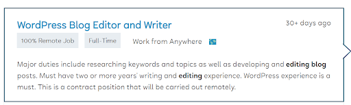 Example of the type of remote editing jobs available on Flexjobs