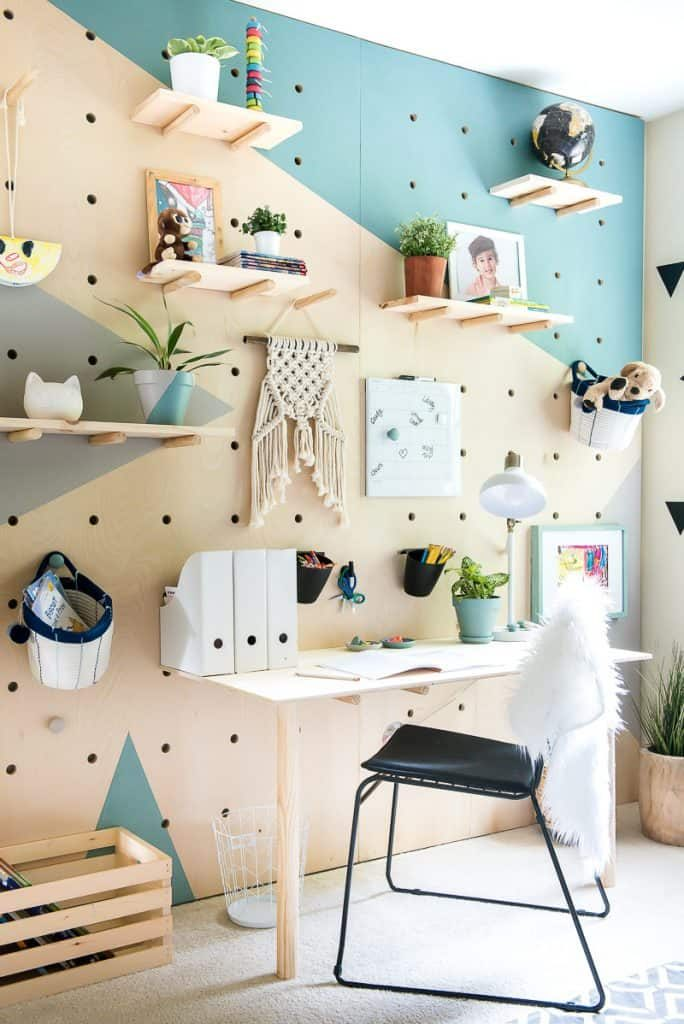 ply pegboard wall with shelves