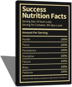 Black success nutrition facts board