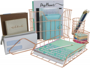 Picture of copper basket desk organizers