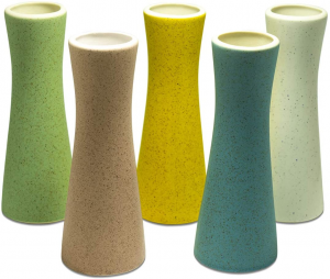 Photograph of 5 multi-colored ceramic vases