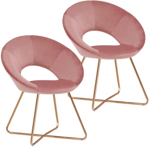 Two pink lounge chairs