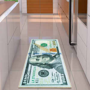 Dollar design rug on a tiled floor