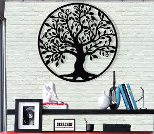 Picture of a black tree of life wall art on a wall