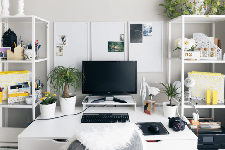 An image of a home office with decor ideas