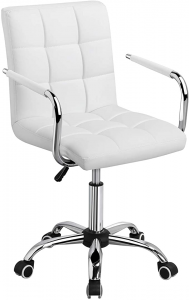 White padded desk chair with chrome and black base