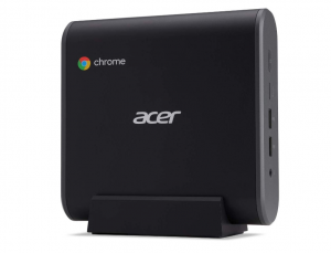 Picture of a black Acer with the chrome logo