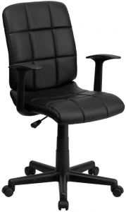 Black quilted desk chair