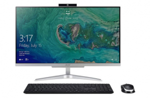 White Acer Aspire All-In-One with keyboard and mouse