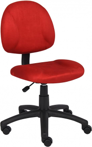 Red desk chair without armrests