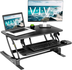 Standing desk converter for two monitors plus mouse and keyboard