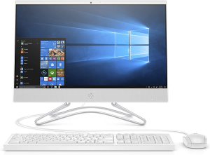 White 21.5 inch HP All-In-One with keyboard and mouse