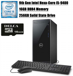 Image of a black Dell solid state drive with keyboard and mouse for home office