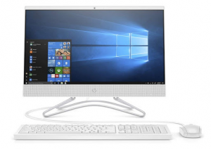 Image of white HP 21.5-inch all-in-one computer for home office with keyboard and mouse