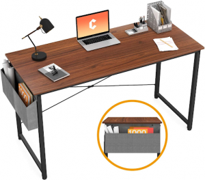A dark wooden easy-to-assemble desk for dual monitors.