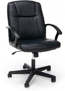 Black bonded leather desk chair
