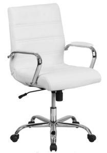 White and chrome desk chair on wheels