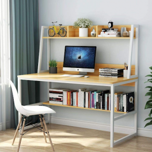 White desk with a bookshelf and enough space for dual monitors.