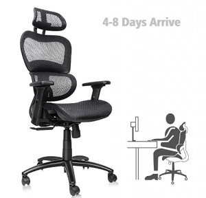 Black mesh office chair with castor wheels