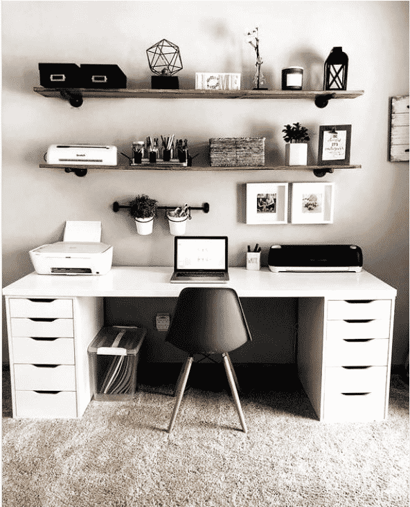 Image of inspiring monochrome home office