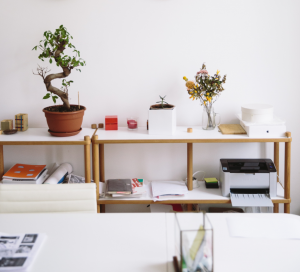 Shelves in a home office with a printer