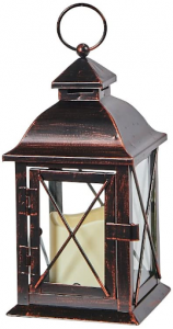Brass LED hurricane lamp