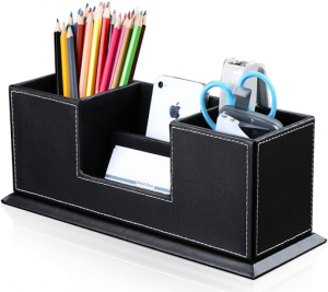 Leather storage box for stationery