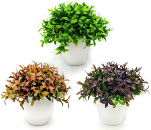 Three artificial pot plants