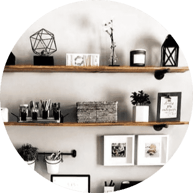 Wooden floating shelves with decor