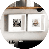 White box photo frames hanging on wall