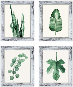Four distressed wooden frames with images of leaves