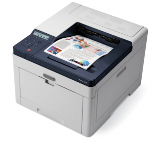 Xerox printer with color print in the tray.