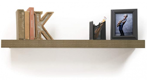 Wooden floating shelves with books