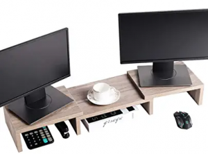Dual monitor stand with desktop organizer