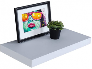 White floating shelves with picture and plant