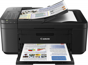 Black canon printer with printed images