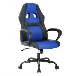 Blue and black executive office chair on wheels