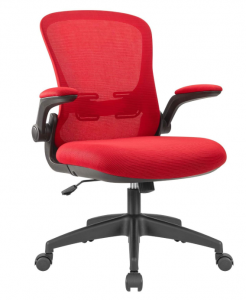 Red ergonomic office chair with flip up armrests