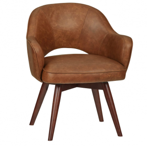 Brown leather swivel chair with legs
