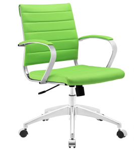 Bright green office chair on wheels