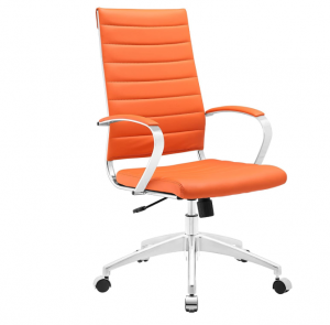 Orange high-back office chair on wheels