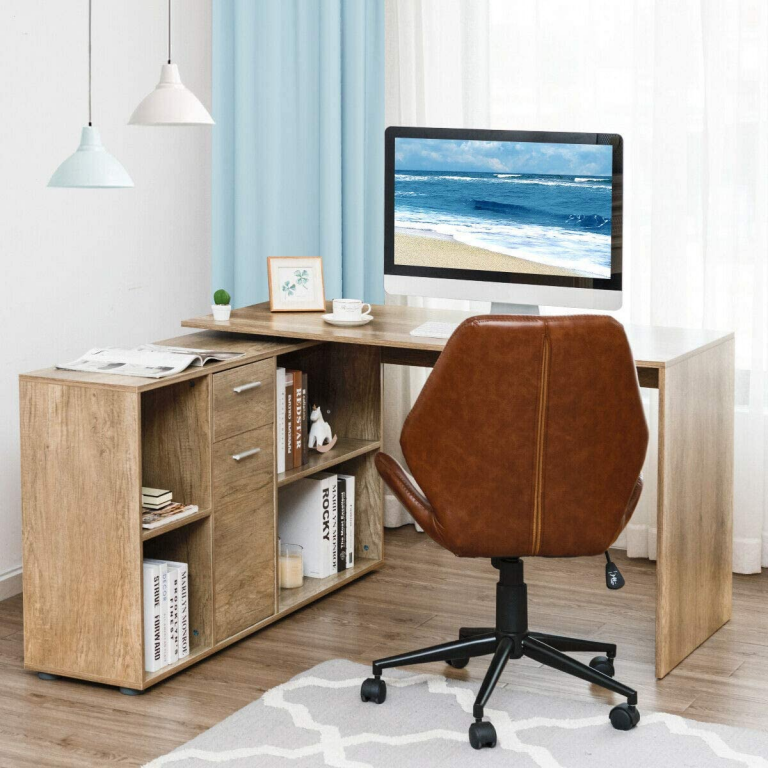 Wooden L-shaped home office desk with brown leather chair