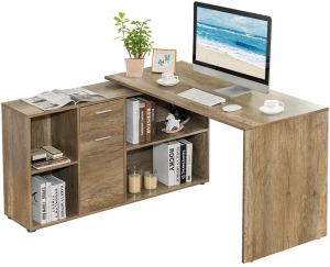 Rotating L-shaped desk with books and a monitor